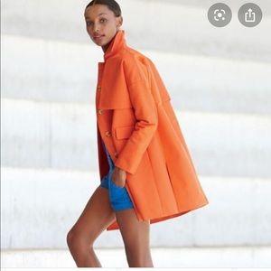 🍊J crew bright orange trench coat.🍊